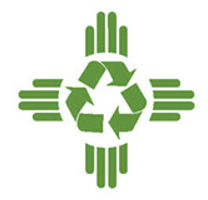 Green Zia symbol with a green recycling symbol in the middle
