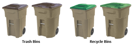 4 beige bins. The two on the left are labelled trash bins and have brown lids. The right two are labeled Recycle bins and have green bins. Of the two sets, the left bin is smaller than the right