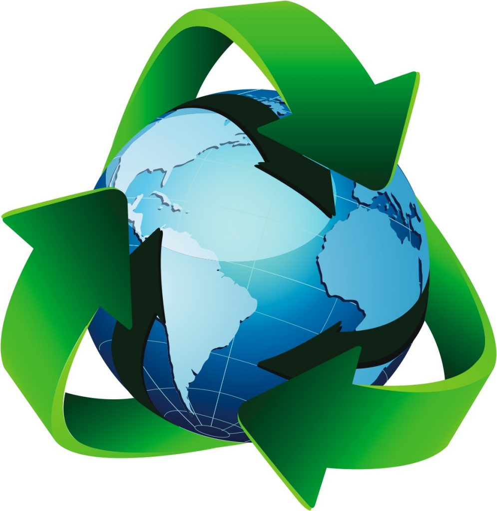 Triangular recycle arrows with a globe in the middle
